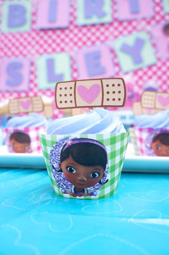 Disney Jr Doc McStuffins Inspired Cupcake by TheCraftyGodMother
