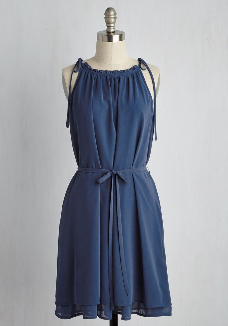 Vacation Temptation Dress. Though this blue dress looks adorable as you mingle through your neighborhood gathering, you dare to picture its tied shoulders and sweetly ruffled neckline in a tropical setting! #blue #modcloth