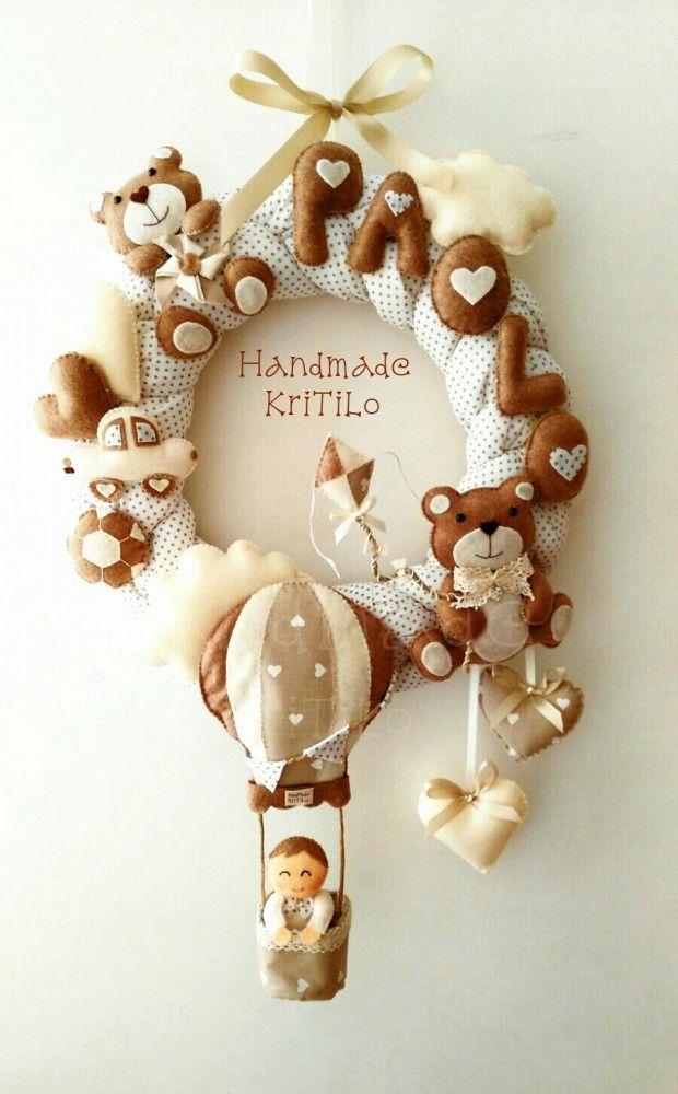 Corona fiocco nascita shabbychic bimbo su mongolfiera con orsetti. FIOCCO NASCITA FARFALLINA. BIMBA, BIMBO, NASCITA, FARFALLA, ROSA, AZZURRO, CELESTE, FEMMINA, MASCHIO
