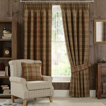Dunelm Highland Check Lined Pencil Pleat Curtains in Rust Orange (117cm x 137cm)