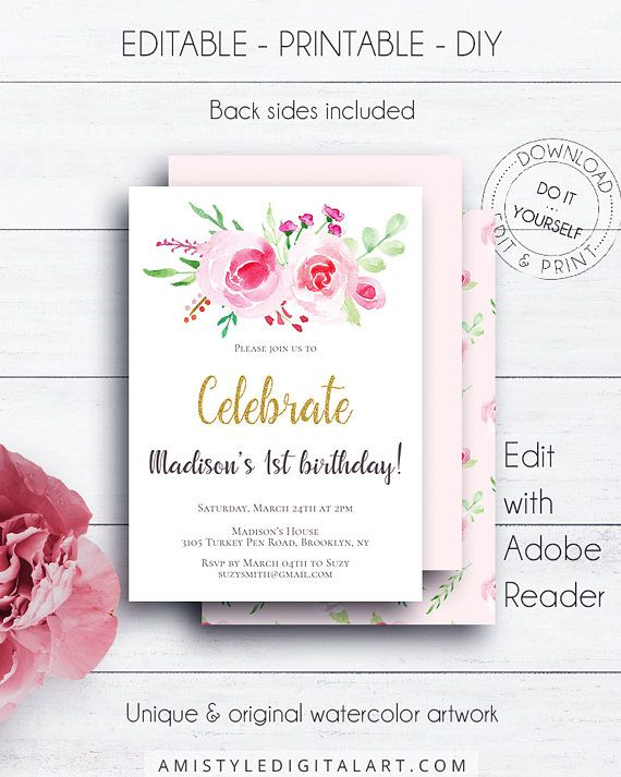 Gold Floral Invitation 1st Birthday - with beautiful hand-painted watercolor peonies and roses - for the lovers of the shabby chic style and the gold glitter  This floral printable template is for an instant download EDITABLE PDF so you can download it right away, DIY edit and print it at home or at your local copy shop by Amistyle Digital Art on Etsy