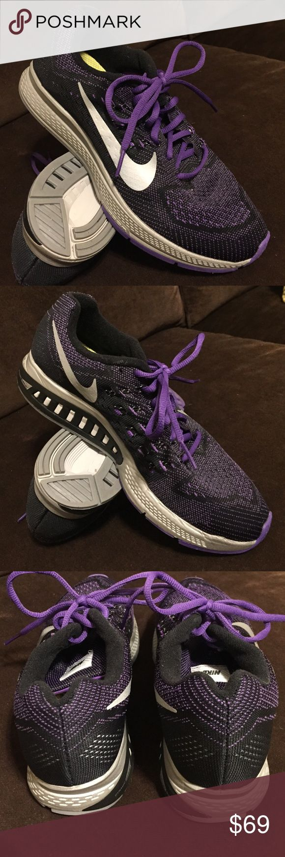 Nike zoom air structure 18 black purple sz 8.5 40 Excellent condition Nike air zoom structure 18. Black and purple Flyknit mesh uppers and volt Yellow insoles. Nike Shoes Athletic Shoes