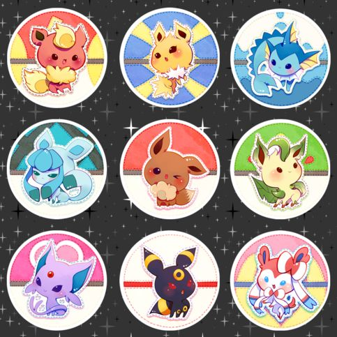 """1.75"""" (4.4cm) metal pinbacks with Eevee and crew! In the note section please let me know your selection!  Items will be shipped in protective bubble wrap envelope. No tracking applied."""