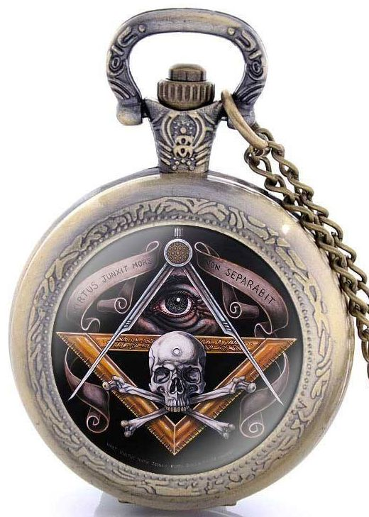 Vintage Bronze Freemasonry Skull Steampunk Pocket Watch