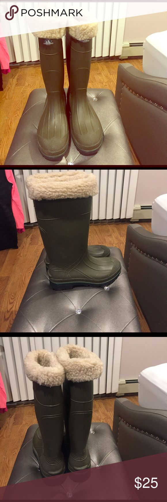 Northerner boots, rain/snow boots Olive green color, with wool inserts for extra warmth and dr scholl's padding inserts . Very heavy sturdy warm boots, used once northerner Shoes Winter & Rain Boots