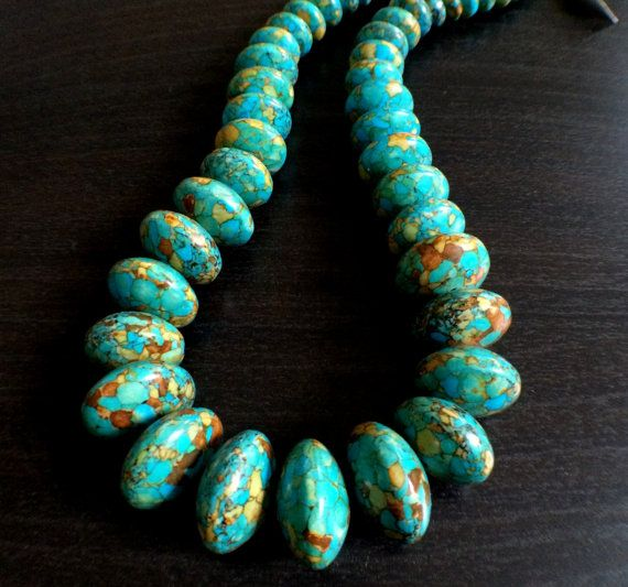 Beautiful Ocean Blue Turquoise Graduated Necklace by Theshobs
