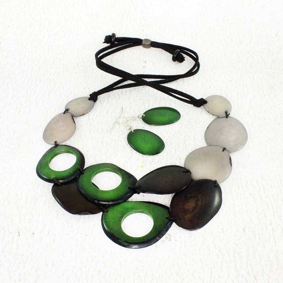 Green Statement Necklace and Earring Set  Grey and Green   https://www.etsy.com/listing/202931310/green-statement-necklace-and-earring-set
