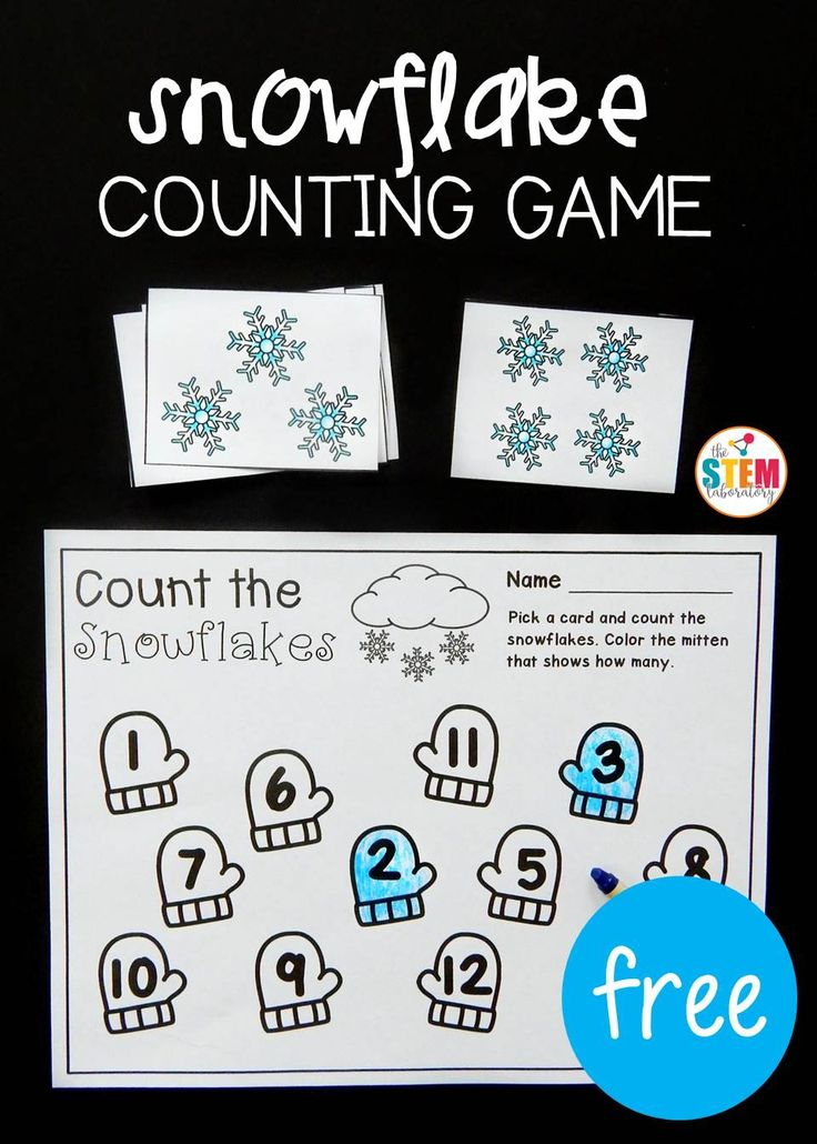Free winter counting game for preschool or kindergarten. What  fun math center or number activity!