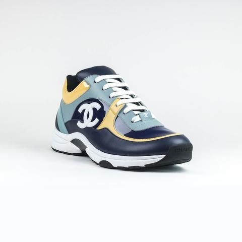 07f45f25c029d Chanel CC Logo Multi Patent Blue Teal Yellow Sneaker