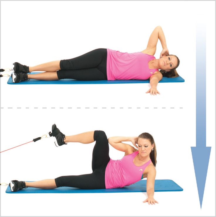Better Lying Oblique Crunch with Resistance Bands