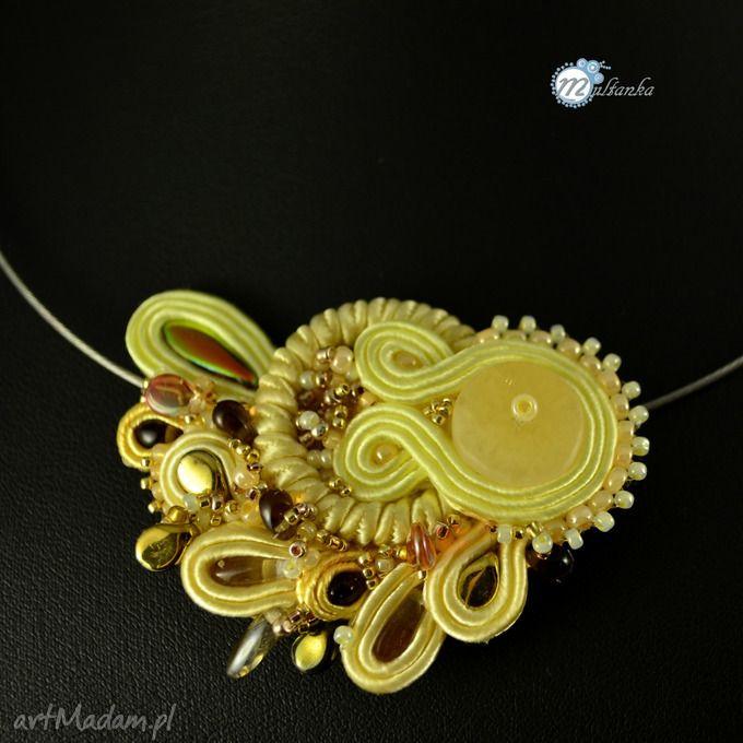 Żółty naszyjnik soutache. $37  Yellow soutache necklace - must have for soming spring  #multanka #necklace #soutache #spring2015