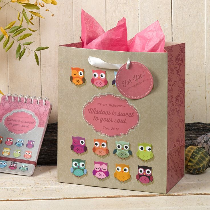 """Gift Bag, Medium  Owl, Wisdom Is Sweet To Your Soul  Pink and Brown  Prov 24:14   Gift bag for any occasion with satin ribbon handles and gift tag that says For You!; includes 1 sheet of tissue paper; 8"""" x 9.5"""" x 4.75"""".  Wisdom is sweet to your soul. Proverbs 24:14.   Size: 20 x 12 x 24.5 cm  PRICE: R30 per Bag."""