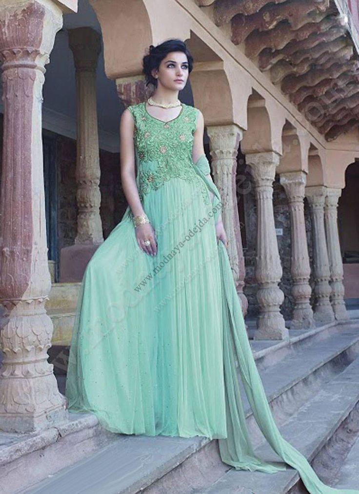 Аквамариновое длинное платье в пол без рукавов