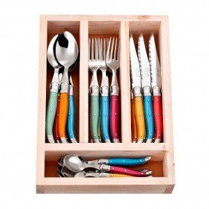 24 Piece Colour Flash Laguiole By Jean Neron Cutlery Set