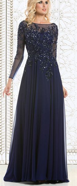 Long Sleeves Illusion Neckline Navy Lace and Chiffon Party Evening Mother of The Bride Dresses