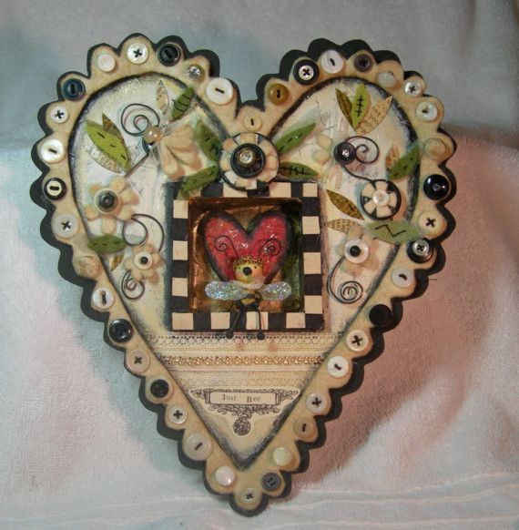 Buttoned Up Heart: Haymak Thompson, Heart Shape, Buttons Ornaments, Photo Shared, Buttons Floozi, Valentine, July Haymak, Felt Heart, Heart Cards