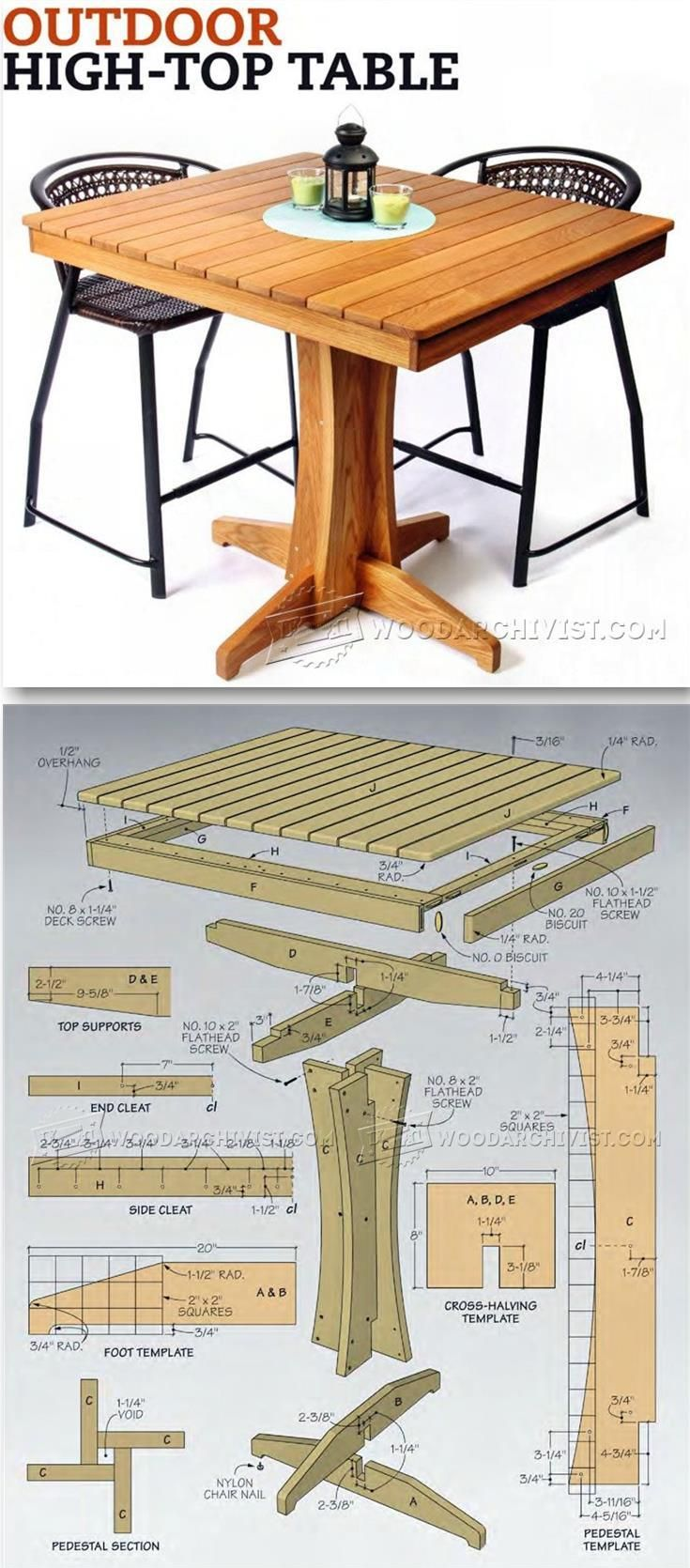 Outdoor High Top Table Plans - Outdoor Furniture Plans & Projects   WoodArchivist.com