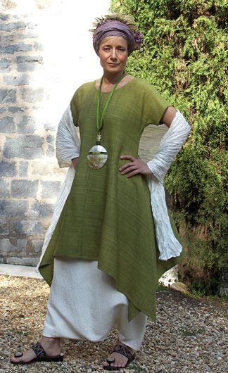 Lime green tunic made of raw silk white sarouel ( harem pants)made soft mixte linen