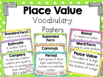 Need a visual of the vocabulary that appears when you are teaching place value and base ten? This is a simple but colorful freebie created so students can refer to the chapter vocabulary all year or just during the unit on place value concepts.   There are 9 mini posters to display!