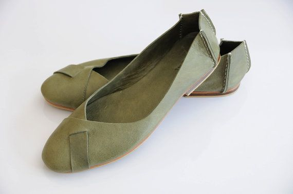 NATIVE Leather ballet flats / womens shoes / flat shoes by BaliELF, $100.00