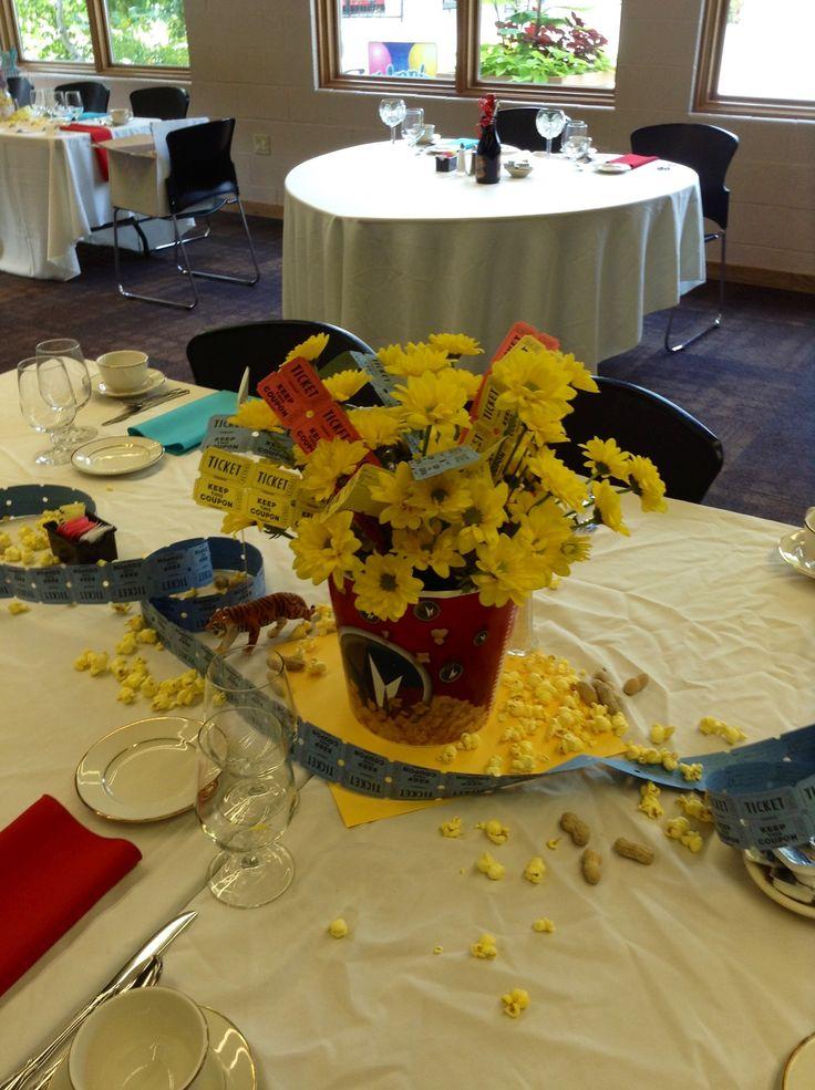 Movie theme wedding floral centerpiece
