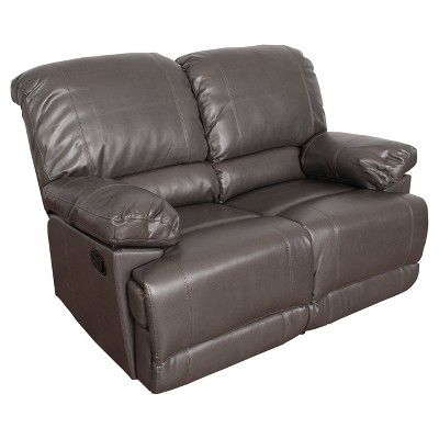 Lea 2pc Brownish - Grey Bonded Leather Reclining Sofa Set - Corliving