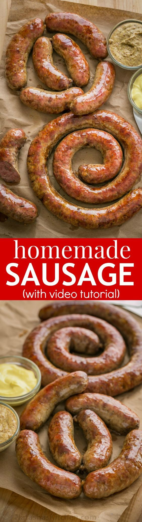 Learn how to make Homemade Sausage with this VIDEO recipe. Homemade sausage is a great way to use less expensive cuts of meat. The best kielbasa recipe!   natashaskitchen.com
