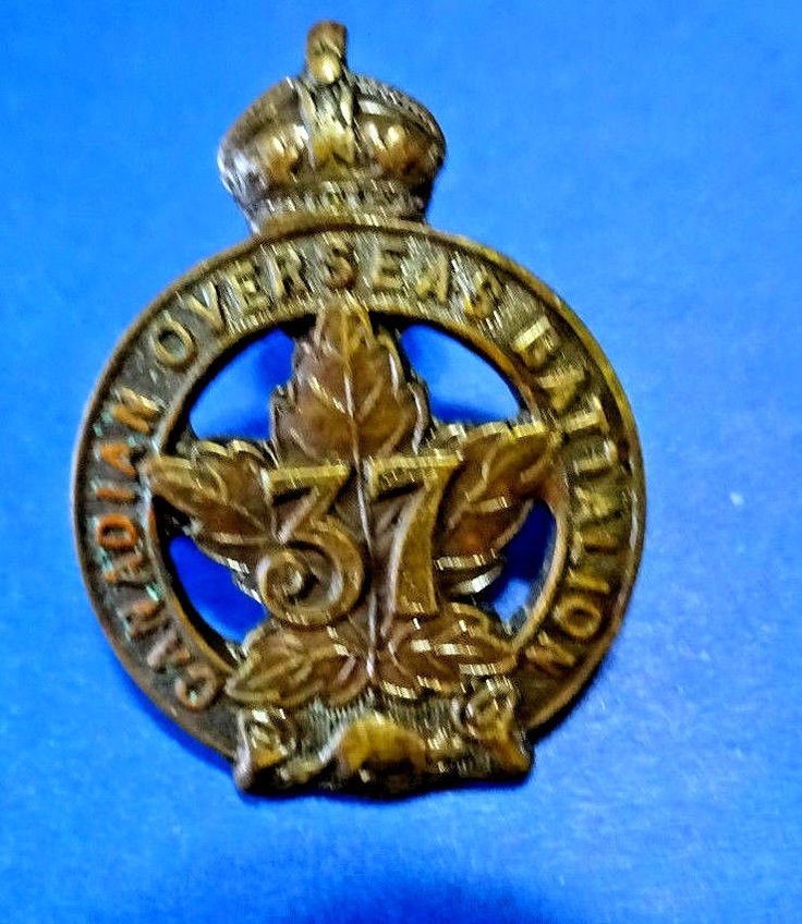 WW1 CEF 37th  Battalion Toronto Collar Badge