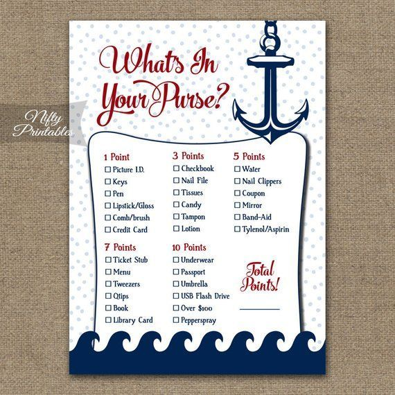 Instant Download Printable Nautical Games Nautical Theme Nautical What/'s In Your Purse Printable Baby Shower Game