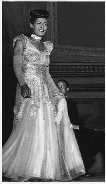 Billie Holiday, picture taken at Carnegie Hall in early 1948. 4/7 is her birthday.