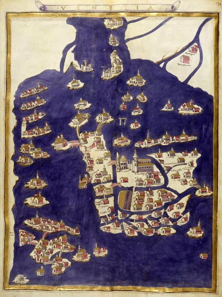 """Map of Venice,"" miniature comes from the 'Ptolemy's Geography' (1470), the Bibliothèque nationale de France, Paris."