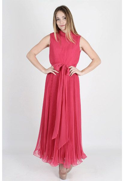 Vintage 60s Bright Pink Chiffon Dress Draped by AmericanArchive