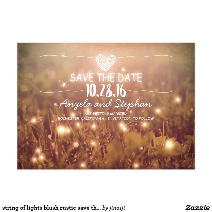 zazzle wedding invitations promo code%0A String of lights blush rustic save the date cards