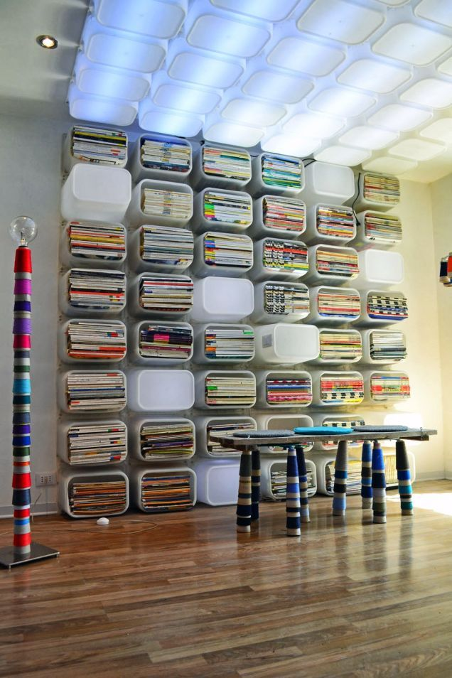 Ikea Hacks - A Bookshelf and Ceilingscape Made From Toy Bins