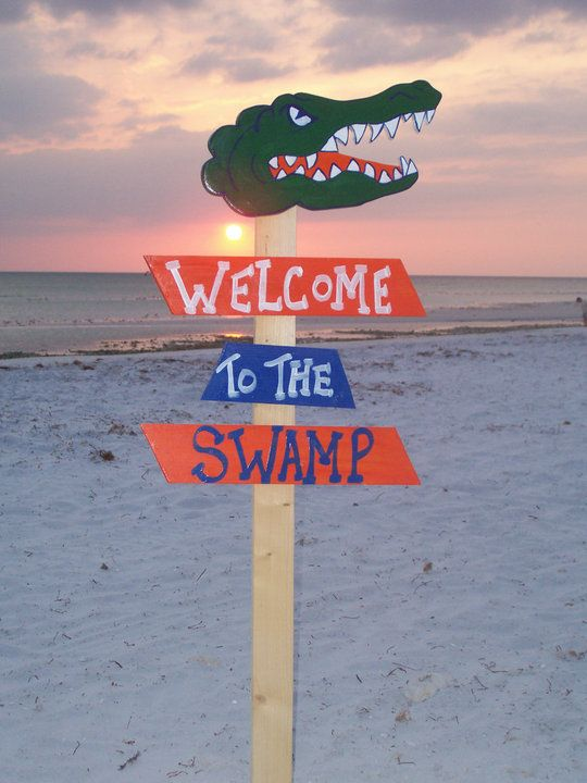 Go Gators! direction sign - Welcome to the Swamp