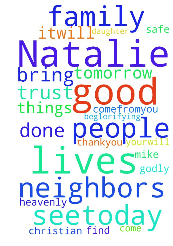 M my daughter Natalie and her family need House -  Heavenly father youre a greatprovider all good things comefromyou. You seetoday and tomorrow and what is to come I I just pray father that Natalie and mike will find a safe place for therechildren ,itwill be so good Lord if they will have Christian neighbors I just pray Lord that yourwill be done in there lives bring Godly people into their lives I trust you Lord I thankyou beglorifying those situation in jesus name I pray  Posted at…