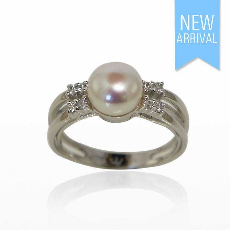 Ring Pearl with 2 Rows of CZ Set In Sterling Silver. Size 12 #Ring #NewArrivals #GinaAdornments