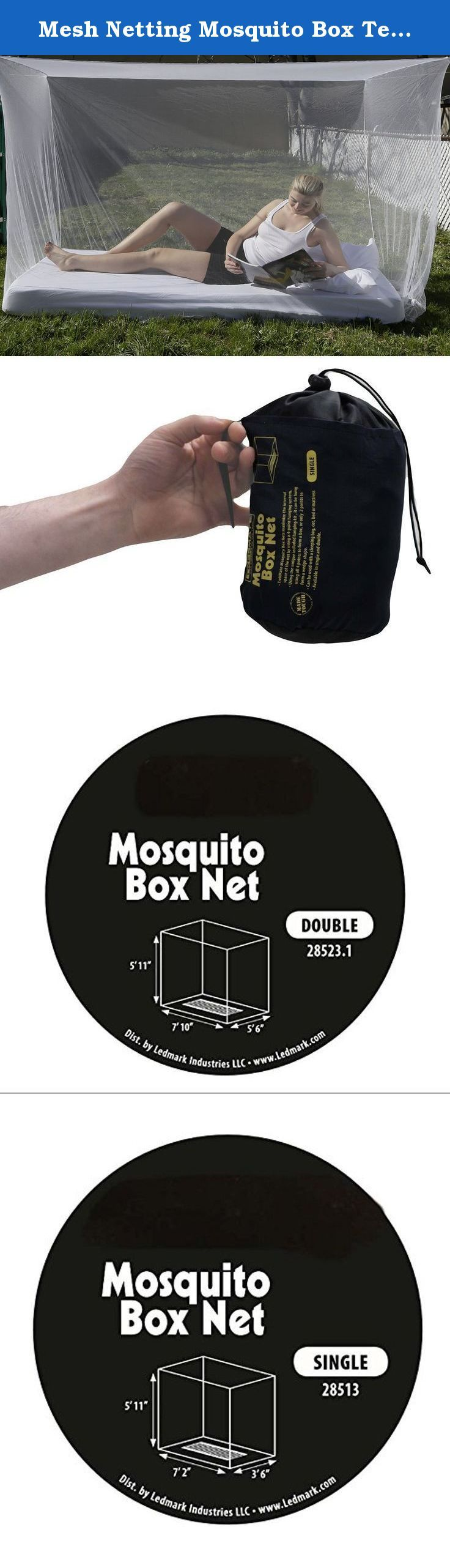 Mesh Netting Mosquito Box Tent Single Or Double. This is one of the lightest and most compact wedge shaped mosquito nets. It is suitable for use both indoors and out in the bush requiring just one point of suspension and can easily be draped around a bed or sleep mat.The fine black mesh offers good levels of breathability and is easy to see through when you're on the inside looking out.