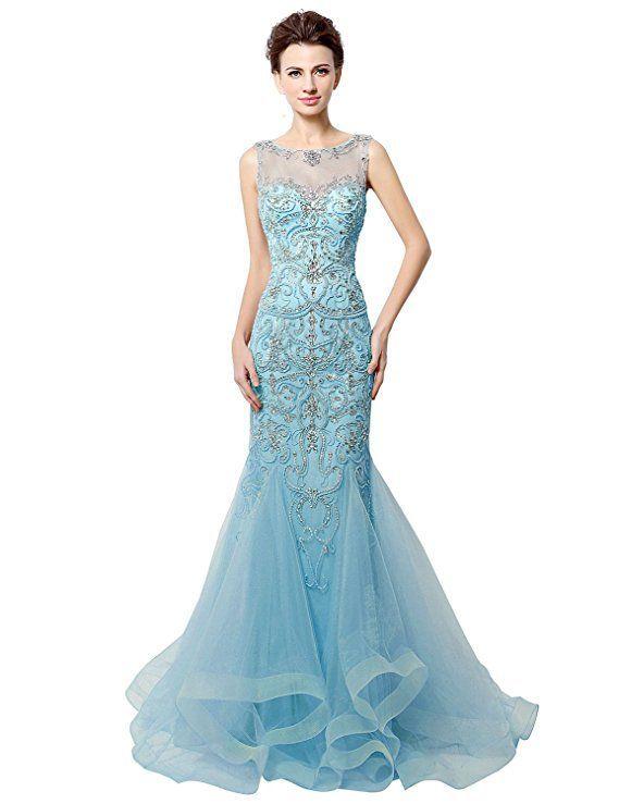 0bfa96a3200f Sexy Abendkleid im Stil einer Meerjungfrau. Das eng anliegende Kleid ist  komplett mit Stickereien und Perlen verziert. Das schult…   ❤ türkis blau    Pinte…