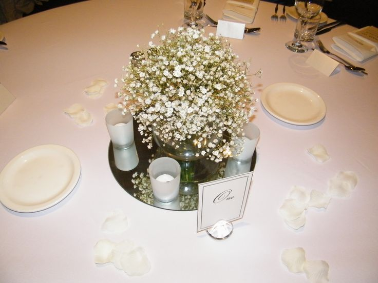 15cmD Fish bowl vase with babies breath arrangement - by Toowoomba White Wedding and Event Hire, Weddings, Parties, Corporate Functions {Toowoomba, Surrounding Areas}
