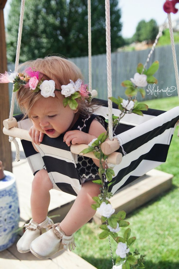 The Makerista: Milly Turns 1. DIY baby swing. The striped fabric is perfect.