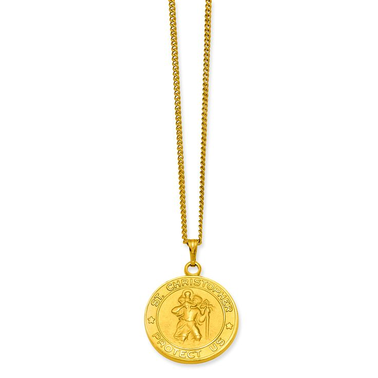 24in Gold-plated St. Christopher Medal Necklace KW419