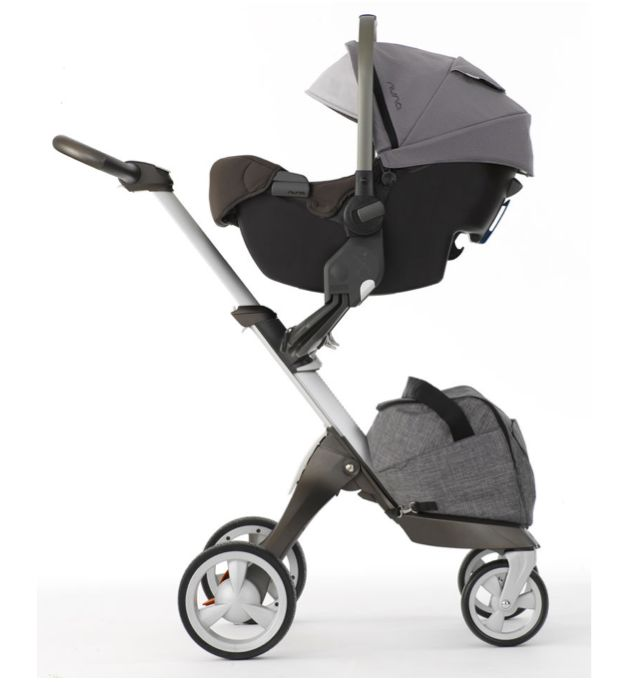 Nuna PIPA Infant Car Seat + Stokke Xplory Stroller in Black Melange with Stokke Car Seat Adaptors