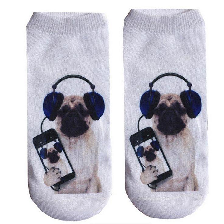 1pair 3d Printed Socks Women fashion Low Cut Ankle Funny Sock Casual Cotton Animal print Socks collares mujer meias feminina #39