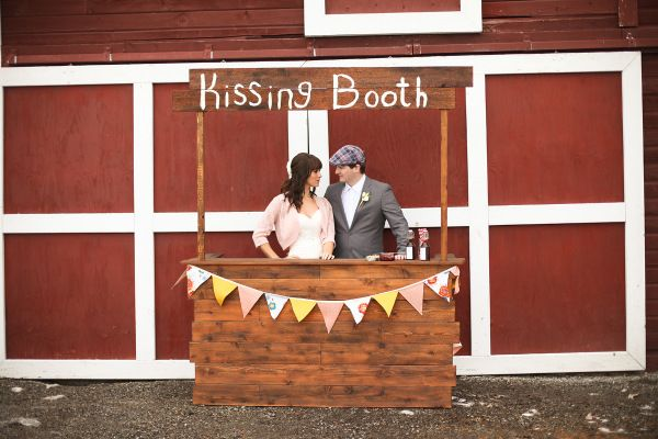 Would make a cute reception line... then make a part of the photo booth area. 25¢…and give a hersheys kiss with a personalized sticker
