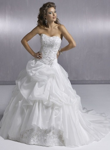 fancy white organza strapless appliques ball gown bridal wedding dress wm0146