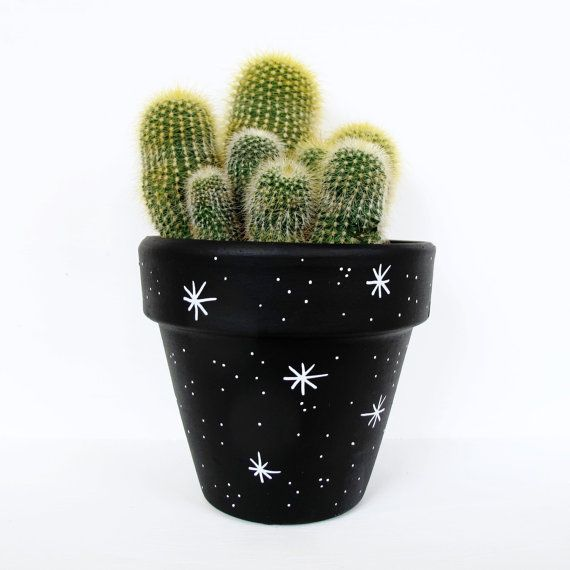 Hand Painted Plant Pot - Stars