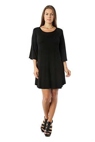 Stay trendy and in-style with this luxurious flowy tunic swing designer black shift dress with the finest heavenly soft premium fabric. When temperatures begin to get summer-like, and you want to stay cool, slip into these womens tunic top dresses for summer as you're running out the door. This fashion black tunic dress comes in a variety of colors for you to choose.Manufactured in Los Angeles, California, USAWe use premium quality fabrics and we manufacture trendy ladies crew neck short…