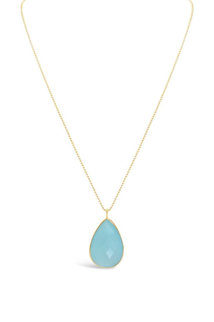 Gold Aqua Chalcedony Teardrop Necklace