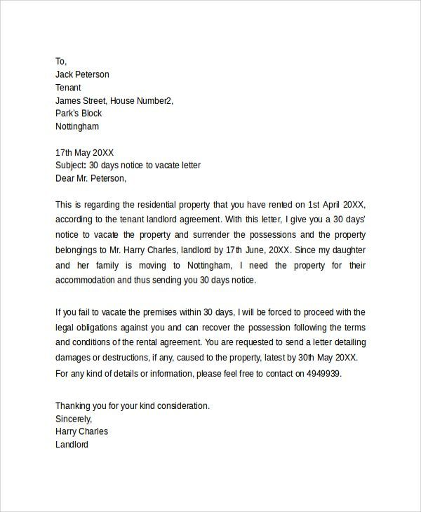 30 Day Notice To Vacate Letter - http://www.valery-novoselsky.org/30-day-notice-to-vacate-letter-30.html